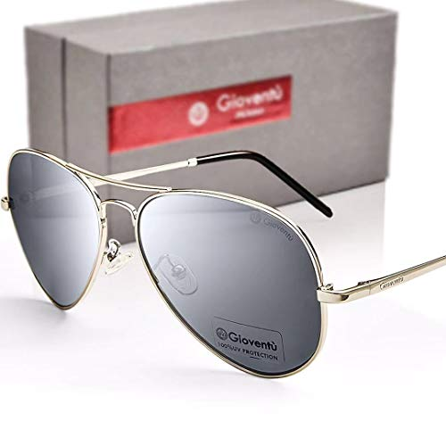 Gioventù Classic Aviator Premium Military Style Sunglasses,Lightweight UV400 Protection Sunglasses for Men & Women