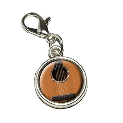 Graphics and More Acoustic Guitar Strings Antiqued Bracelet Pendant Zipper Pull Charm with Lobster Clasp from Graphics and More