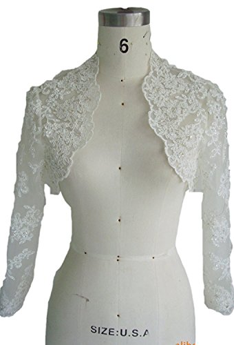 Women's Long Sleeve Lace Wedding Bridal Bolero (20, Ivory)