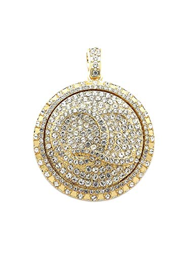 BLINGFACTORY Hip Hop Iced Out Gold Plated QC Spinner Pendant & 24