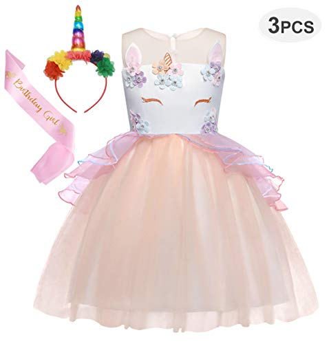 Cotrio Girls Unicorn Costume Dress Pageant Party Dresses Flower Evening Gowns Tutu Dress 3-Pieces Halloween Outfit with Headband and Sash Size 5T (120, 4-5Years, Pink)