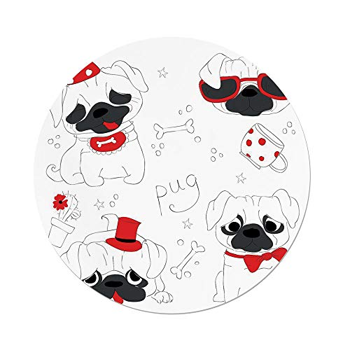 Polyester Round Tablecloth,Pug,Dogs in Various States Sad Happy Cool Excited Dog Bone Dotted Mug Caricature Style Decorative,Black Red White,Dining Room Kitchen Picnic Table Cloth Cover,for Outdoor I