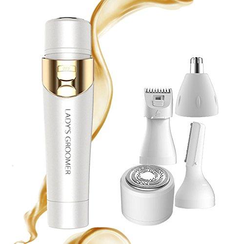 Ladies Electric Razor for Face Women Shaver Depilador Facial Hair Removal Fairycity 4 in 1 Groomer Body Hair Remover Bikini Trimmer for Eyebrow Nose Armpit Legs