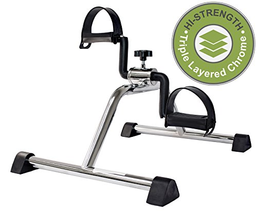 Vaunn Medical Pedal Exerciser Chrome Frame (Exerciser Peddle - Simple and Quick - Pedals Bike Stationary