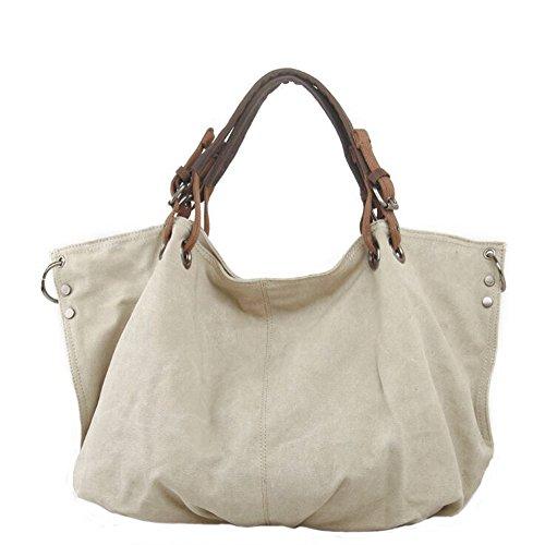 - FXTXYMX Oversized Vintage Hobo Canvas Leather Tote Handbag Crossbody Shoulder Bag Purse for Women (Beige)