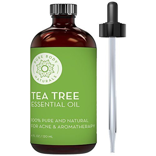 Tea Tree Essential Oil, Natural Treatment for Acne, Hair and Diffuser, 100% Pure Melaleuca Oil for Face, Skin Tag Removal, and Foot Fungus by Pure Body Naturals, 4 ounce (label may vary)