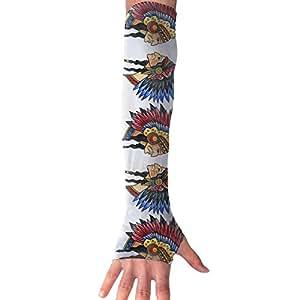 Guantes sin dedos unisex indio indio nativo americano para deportes al aire libre, guantes de conducción elásticos con brazo calentador