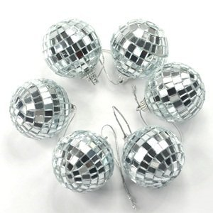 Cosmos ® 6 pcs 1.8 Inch Disco Ball Mirror Party Christmas Xmas Tree Ornament Decoration with Cosmos Fastening (Disco Mirror)