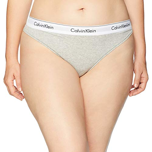 Calvin Klein Women's XS-XL Modern Cotton Thong Panty, Grey Heather, X-Large ()