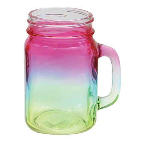 Mason Jar 15 Ounce Glass Mug - Multicolor Tye Dye Drinking Glass Jar With Handle