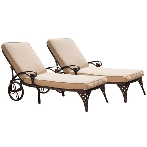 Biscayne Bronze Chaise Lounge Chair with Taupe Cushion by Home Styles