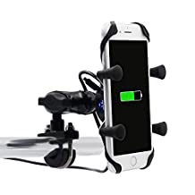 TurnRaise Motorcycle X-Grip Clamp Stand Holder with USB Charging Port for iPhone 5 5s 6 6Plus/ Samsung Galaxy and Other Smartphones