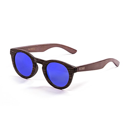 Ocean Sunglasses San Francisco Lunettes de soleil Bamboo Brown Frame/Wood Dark Arms/Revo Blue Lens Gsj7Rl