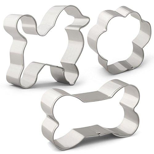 Dog Treat Cookie Cutter Set- 3 PCS - Dog, Dog Bone and Paw Print - Stainless (Paw Print Dog Bones)