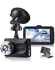 """TOGUARD Dual Dash Cam Car Camera Full HD 170° Wide Angle 3"""" 1080P Front and 720P Rear View Backup Camera with Night Vision WDR G-Sensor Parking Monitor Loop Recording Motion Detection"""