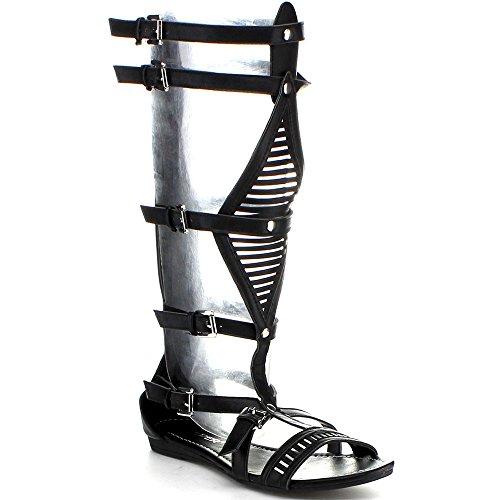 Wild Rose Womens Lory-89A Gladiator Sandals Black