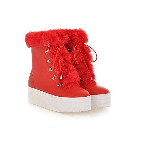 Red 5 AmoonyFashion with US Platfrom Short Heels Toe B M Womens Boots Kitten Toe PU Round Closed Plush Frost Solid qwRgqxfZ