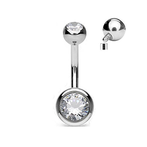 (14 Gauge 5/16 4 & 6mm Solid G23 Grade Titanium Internally Threaded Belly Ring B442)