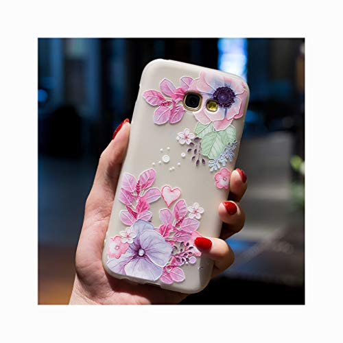 Mixneer for Samsung Galaxy 3D Three-Dimensional Relief Painted Petals Luxury Fashion Earthquake Prevention Anti-Fall Soft TPU Shell Protector Case for Samsung Galaxy A7 2016 - Flower 8 ()