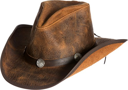 Overland Sheepskin Co Cyclone Leather Cowboy Hat with Buffalo ()