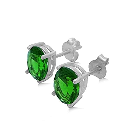 New Green Helenite Stud Earrings - 3.9 CT Total, Claw Set in 925 Sterling Silver Post