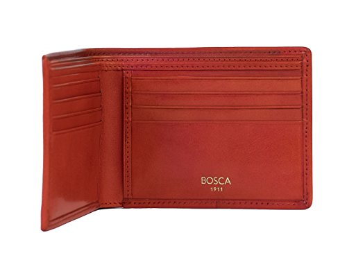 Pocket Bosca Leather Executive Navy Bosca 8 Red Old Wallet Old qXtFw5B
