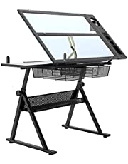 SogesGame Glass Top Drafting Table - Adjustable Art Craft Desk with Chair Set, Tilting Diamond Painting Work Station with 2 Storage Drawers for Home Office