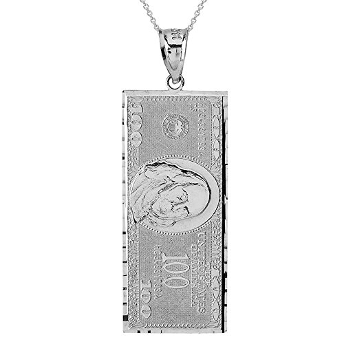 Solid 10k White Gold Hundred $100 Dollar Bill Pendant Necklace (Large), 16'' by Hip Hop Jewelry