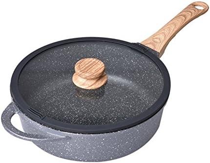 ANHPI Maifanshi Sartén De Fondo Plano Antiadherente Cocina De Inducción Wok Estufa De Gas Sin Humo Universal,Black