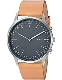 Jorn Stainless Steel and Leather Hybrid Smartwatch, Color Silver-Tone, Tan SKT1200