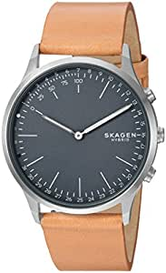Skagen Connected Men's Jorn Stainless Steel and Leather Hybrid Smartwatch, Color: Silver-Tone, Tan (Model: SKT1200)