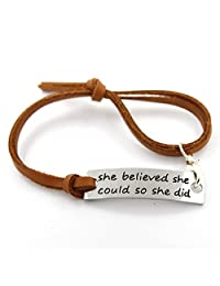 YOYONY She Believed She Could So She Did messsage inspirational leather bracelets