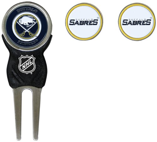 Team Golf NHL Buffalo Sabres Divot Tool with 3 Golf Ball Markers Pack, Markers are Removable Magnetic Double-Sided Enamel