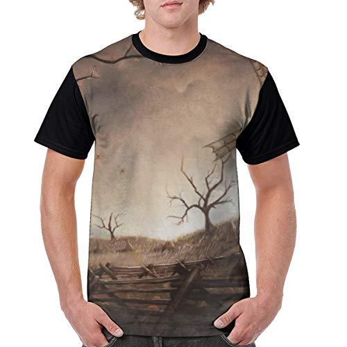 Oh-HiH Men's Raglan Short Sleeve T-Shirts Fantasy Knight Windmill Casual Baseball Athletic Tee Black