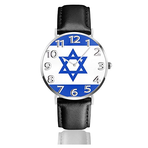 - Flag Of Israel Watch Casual Black Leather Strap Wrist Watches For Men Scratch Proof Male