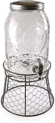 Circleware 69142 Rooster Glass Beverage Dispenser with Metal Fence Stand and Lid Sun Tea Jar with Spigot Entertainment Kitchen Glassware Drink Water Pitcher for Kombucha Juice, 1.5 Gal by Circleware