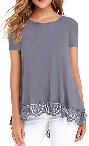 ZEGOLO Summer Tops for Women Short Sleeve Lace Trim Casual Loose Tunic Top Grey S
