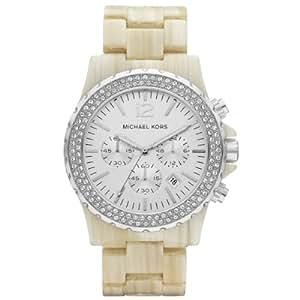 Michael Kors Michaël Kors - Reloj analógico de cuarzo para mujer con correa de plástico, color beige