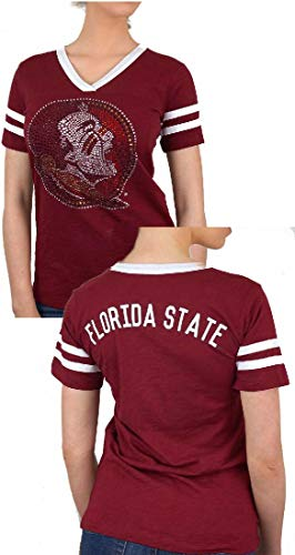 E5 Ladies Florida State Seminoles Wine 2 Sided Rhinestone Short Sleeve T Shirt (M=4/6)