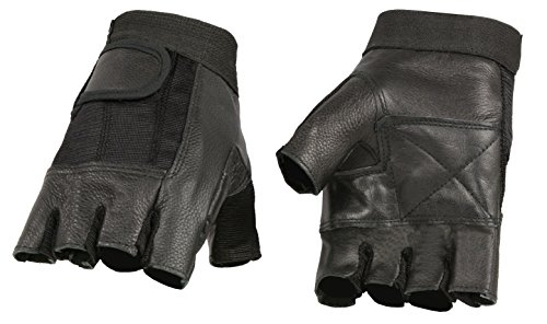 Men's Leather Mesh Combo Fingerless Gloves (Large)