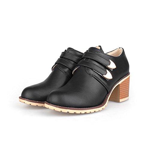 Balamasa Ladies Buckle Chunky Tacco Punta-punta Uretano Oxford-scarpe Nere