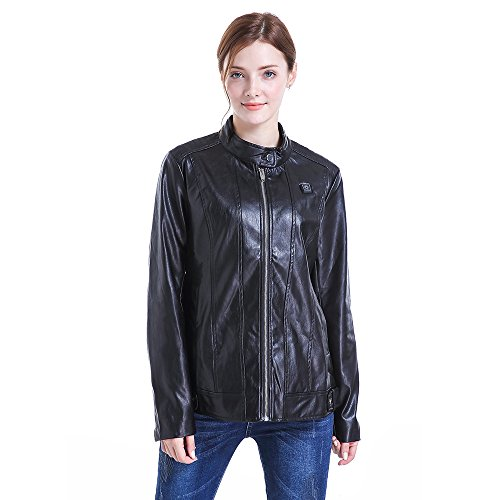 CLIMIX Slim Fit Women Heated Jacket PU Leather Jacket Kits With Battery (M) by CLIMIX (Image #1)
