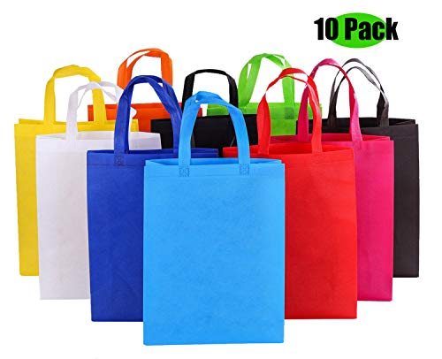 Reusable Grocery Bags Folding Cloth Shopping Bag,Non-woven fabric Tote Bags, Waterproof and Easy to Clean Collapsible Boxes Support for Bookable -10 Colors Variety (10 -