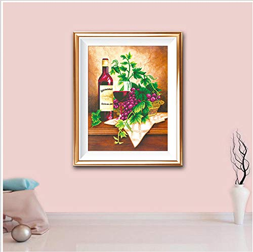 Bitoufou 5D DIY Full Diamond Diamond Painting Star Portuguese Fruit Wine Bedroom Living Room Decorative Painting Cross Stitch Round Diamond 30x40