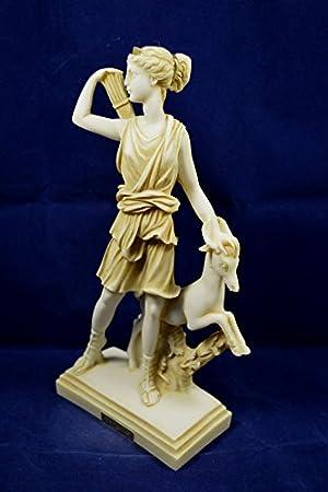 Artemis Sculpture avec cerf D/éesse grecque antique de chasse Diana /âg/és de Statue