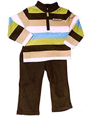 Carters Infant Boy 2 Piece Little Man Outfit Striped Fleece Jacket Pants Set