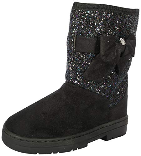 bebe Girls Winter Boots with Rhinestone Embellished Logo & Bow (Toddler/Little Kid/Big Kid) (7 M US Toddler, Black Glitter) -