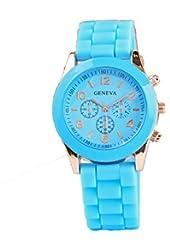 Geneva Blue Silicone Wristband Quartz Watch