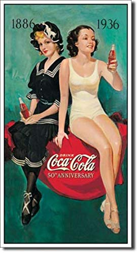 "Coca-Cola Girls in Bathing Suits 1896 to 1936 Beach SURF 8.5"" X 16"" Metal Sign"