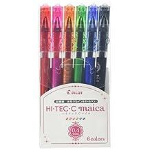 Pilot Hi-Tec-C Maica Gel Ballpoint Pen, 6 Color Set, Fine (LHM-90C4-6C)